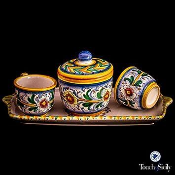 Touch of Sicily Handmade Italian Ceramic Espresso Cup Set \u0026 Sugar Bowl.  sc 1 st  Amazon.com & Amazon.com: Touch of Sicily Handmade Italian Ceramic Espresso Cup ...