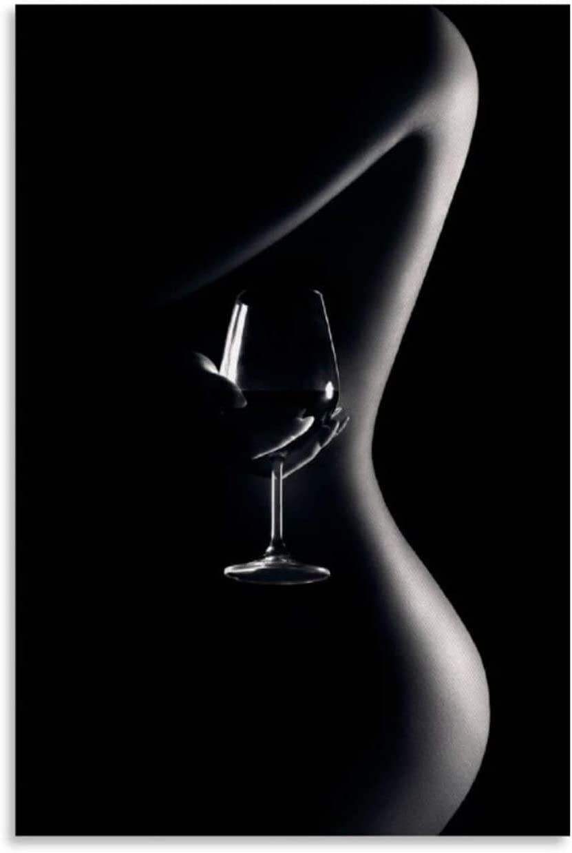 YuFeng Art Inn Modern Wall Poster Art Print Oil Painting on Canvas Home Decor Wall Decoration Canvas Art Sexy Lady Red Wine (Framed-Ready to hang,24X36inch)