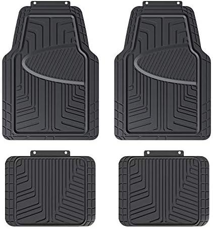 Amazon Basics 4-Piece All-Season Odorless Rubber Floor Mat for Cars, SUVs and Trucks, Black