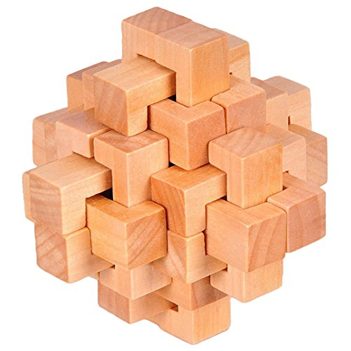 KINGOU Wooden Puzzle 24 PCS Interlocking Brain Teasers Toy Intelligence Game Logic Burr Puzzles for Adults/Kids