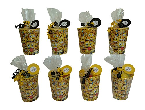 Emoji themed Birthday Supplies Pre-Filled Party Favor Goodie Bag For Kids In Reusable Cup - Set of 8 Bundles