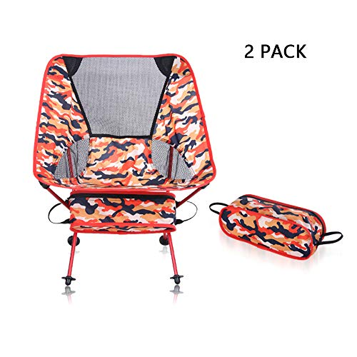 MIMI KING Portable Folding Camping Outdoor Chair, Pack of 2, with Carry Bag, Heavy Duty 150kg Capacity, Perfect for Fishing Hiking Beach,RedCamouflage