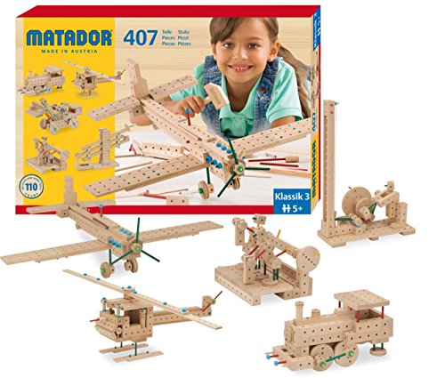 KSM Toys Matador 407 Piece 3-D Wooden Construction (Cog Wheel Train)