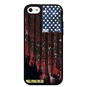 Black, Red, Blue and White Walking Dead American Flag Zombie Hard Snap on Phone Case (iPhone 5c)