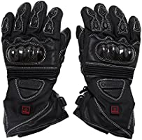 MC-325-M VentureHeat 12V Heated Carbon Fiber Knuckle Motorcycle Gloves Black, Medium