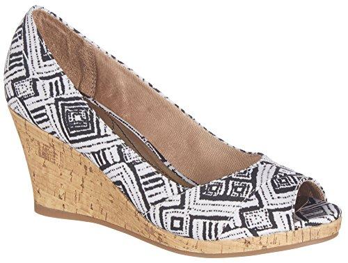 LifeStride Womens Radius Printed Wedge Sandals 7.5 Black/white