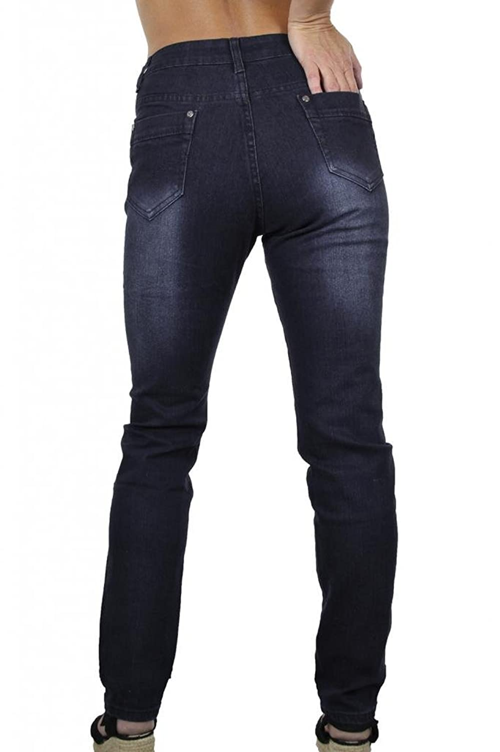(1353) Plus Size Stretch Jeans Dark Indigo Blue Denim Fade Legs