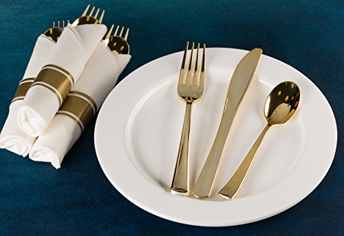 Pre Rollled Cutlery And Napkins Set with Extra Heavy Duty Full Size Polished Gold Cutlery, Fork-Knife-Spoon with White Napkin, Value Pack 60 Count by Lillian Tablesettings (Image #3)