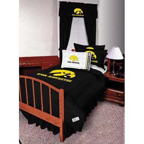 NCAA Iowa U Hawkeyes Bed skirt, Black, One Size (Iowa Full Bedskirt)