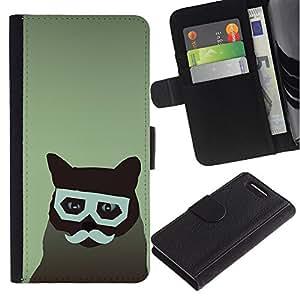 KingStore / Leather Etui en cuir / Sony Xperia Z3 Compact / Gato Arte del inconformista del bigote de los vidrios felina