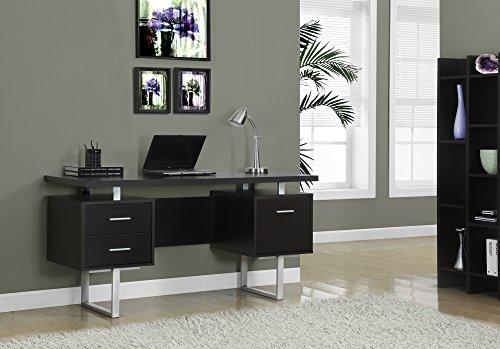 monarch-specialties-cappuccino-hollow-core-silver-metal-office-desk-60-inch