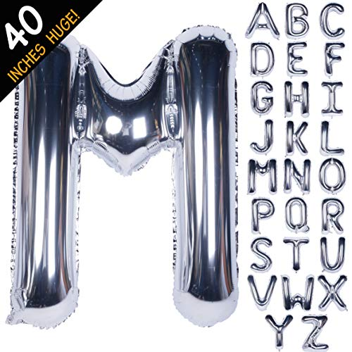 Letter Balloons 40 Inch Giant Jumbo Helium Foil Mylar for Party Decorations Silver M (M Letter Balloons)
