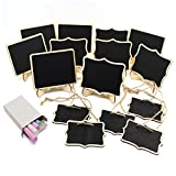 TIMGOU 15 Pack Mini Chalkboards Signs with Stand, Wood Writing Signs including 5 Rectangle, 5 Laciness and 5 Hanging Style Message Board Signs for Wedding, Party, with 1 Box Chalk