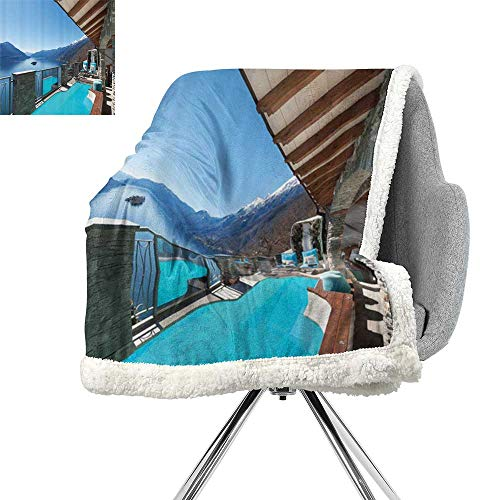 House Decor Collection Light Thermal Blanket,Terrace with Pool and Lake View Luxury House Balcony Leisure Dream Vacation Image Pattern,Blue Aqua,Print Digital Printing Blanket W59xL31.5 ()