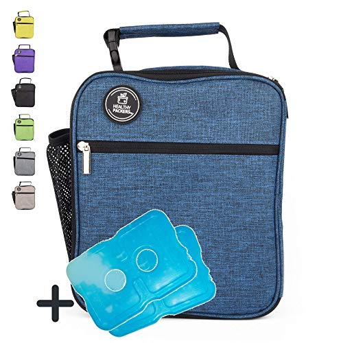 Healthy Packers Insulated Lunch Box for Adults and Kids w/ 2 Slim Long Lasting Ice Packs - Professional Work Lunch Bag for Men and Women - Heavy Duty School Lunchbox for Boys and Girls (Dark Blue) ()