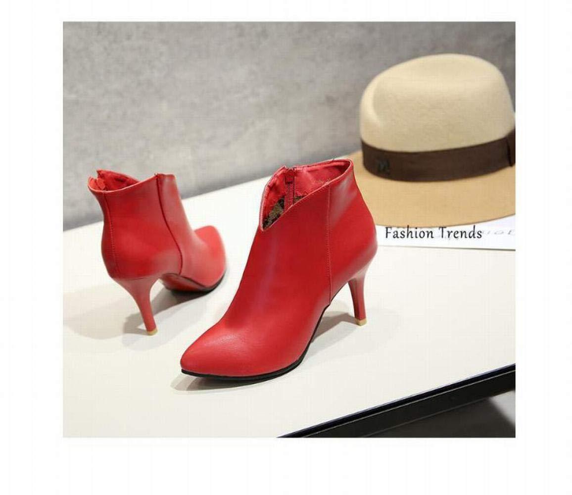 Stiefel Stiefel Stiefel Für Damen, Warme High-Heel-Stiefeletten, Knöchelhohe Stiefel, Stöckelschuhe,rot,39 486078