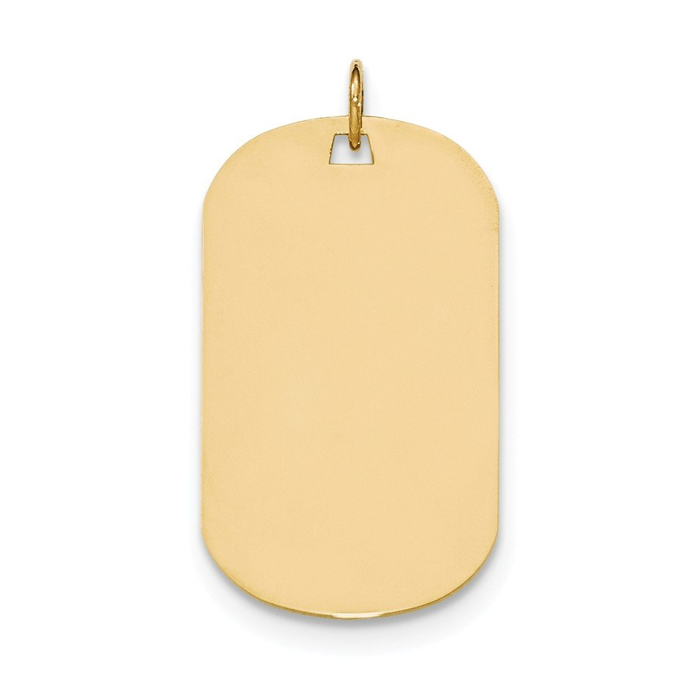 14K Yellow Gold Plain .013 Gauge Engravable Dog Tag Disc Charm