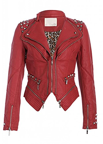 Red Studded Punk Style PU Faux Leather Slim Fit Moto Jacket - Size Medium (Red Jacket Leather Women)
