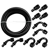 yjracing AN10 20Ft Nylon Braided Fuel Line + Push Lock Swivel Fitting Hose End Adaptor Kit(Black)