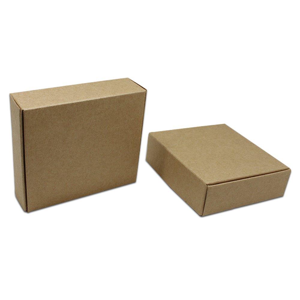 Brown Kraft Cajas De Regalo De Joyeria De Carton Cuadrada 3.5 X 3.5 X 1 Pulga...