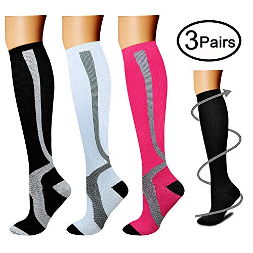 Apparel Assorted - Copper Compression Socks (3 Pairs), 15-20 mmHg is Best Athletic & Medical for Men & Women, Running, Flight, Travel, Nurses - Boost Performance, Blood Circulation & Recovery (Small/Medium, Assorted 4)