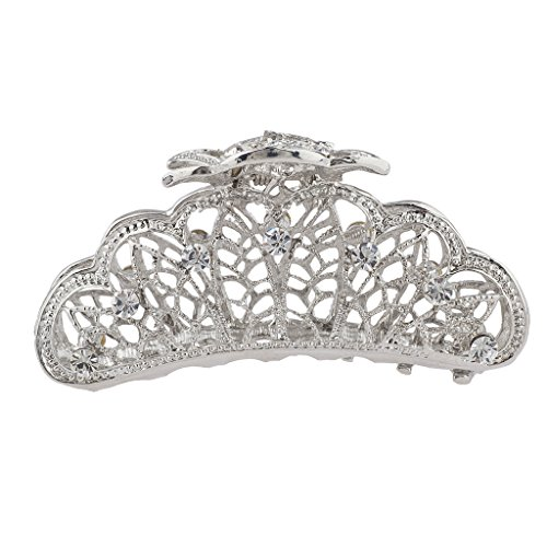 Lux Accessories Silver Tone Faux Rhinestone Special Occasion Hair Claw ()