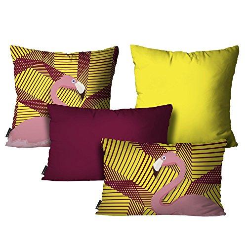 Kit com 4 Almofadas Flamingo Amarelo - AL-DEC4044-KIT - Mdecore