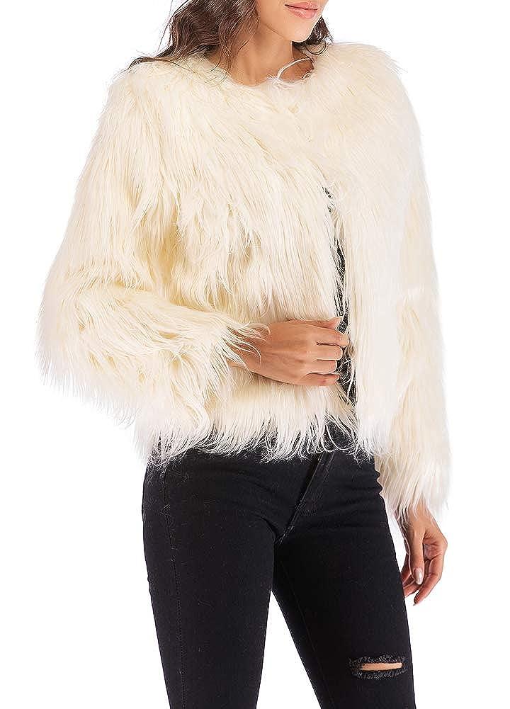 Amazon.com: Anself - Chaqueta de piel sintético para mujer ...