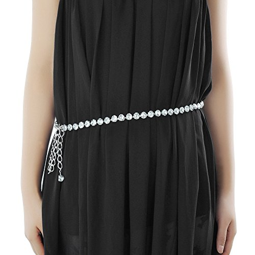 MoYoTo Women's Stylish Sexy Rhinestone Body Belly Chain Waist Chain Belt For Dress (Sliver)