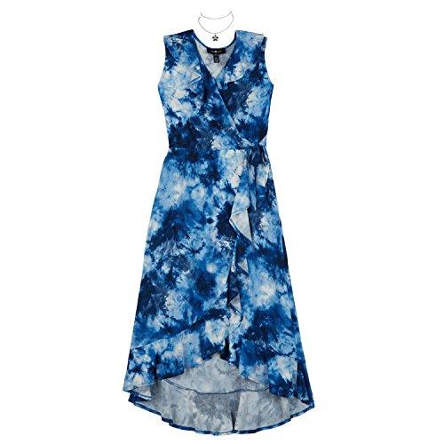 Amy Byer Girls' Big Long Surplice Ruffle Dress, Navy Tie Dye, S