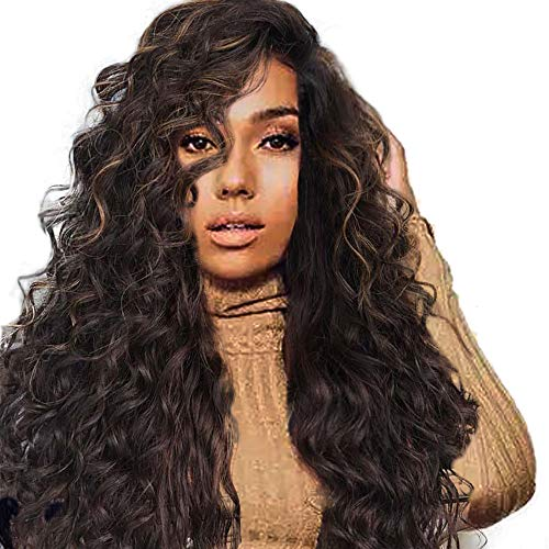 (Wigs Curly Wave Lace Front Human Hair Wigs Density Brazilian Virgin Remy with Baby Hair Woman Brown)