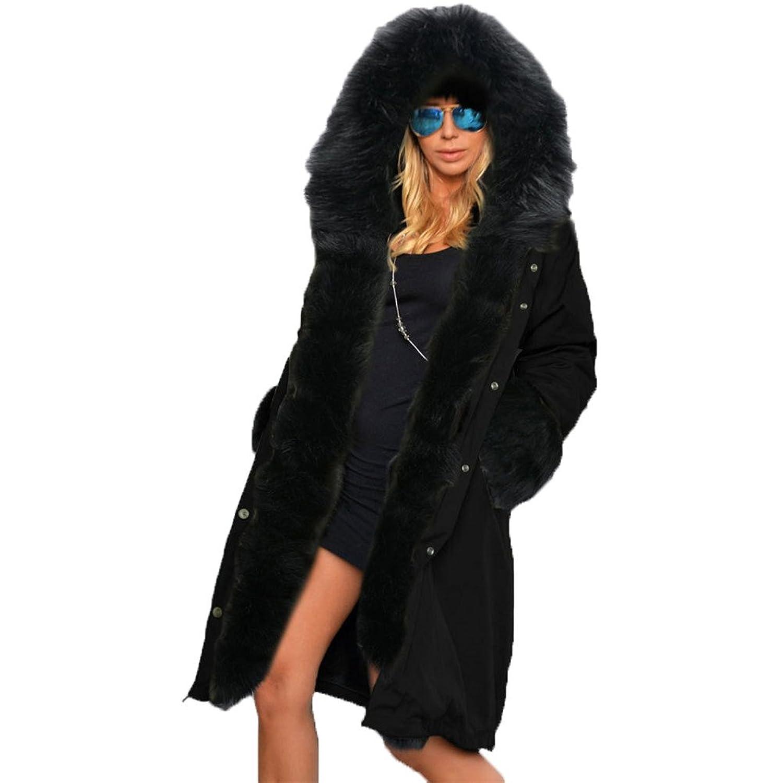 Frauen-Pelz-Kragen Hoodie Plüsch starke mit Kapuze lange Mantel-Plüsch-Jackenmantel