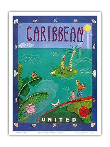 Caribbean   United Air Lines   Vintage Airline Travel Poster By Melisande Potter C 2004   Master Art Print   9In X 12In