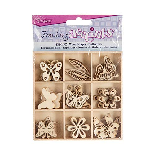 (Finishing Accents 23461 45 Piece Butterfly Theme Mini Laser Cuts Wood Shapes, Multicolor )