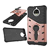 Moto G5S Plus Case Cover Silicone TPU + PC Dual shock absorption protection Ultra Durable 360° with kickstand Case For Moto G5S Plus (Rose gold)