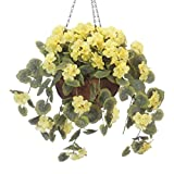 "OakRidge Miles Kimball Fully Assembled Artificial Geranium Hanging Basket, 10"" Diameter and 18"" Chain – Yellow Polyester/Plastic Flowers in Metal and Coco Fiber Liner Basket for Indoor/Outdoor Use"
