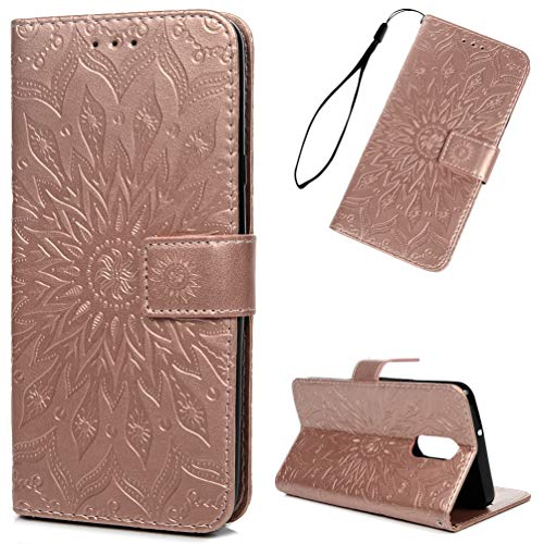 Price comparison product image LG Stylo 4 Case,  LG Stylus 4 Case,  LG Stylo 4 Plus PU Leather Wallet Case Embossed Sunflower Flip Folio Magnetic Skin Shell with Credit Card Slots Kickstand Wrist Strap Soft TPU Bumper Case