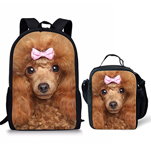 (Dzulife Girls Backpack with Water Bottle Holder And Lunch Box Bag Set for Elementary School Daypacks Cute Poodle Dog Print)