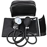 Shanhai Accuracy & Reliability Manual Blood Pressure Cuff (Aneroid Sphygmomanometer) with Zipper Case For Home, Medical Professionals, and Nurses - FDA Approved (Adult Cuff M 10-15.9 inch), Black