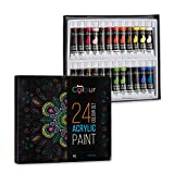 Acrylic Paint - 24 Colour Set -12ml Tubes perfect for Kids Students and Artists Alike - Paints for Painting on Paper Canvas Wood Clay Fabric Nail Art Ceramic & Crafts