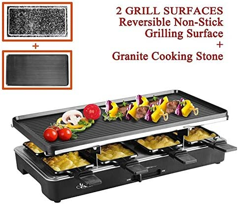 Artestia Electric Raclette Grill Tabletop BBQ,Two Large Non-stick Grilling Plates,Adjustable Temperature Control,8 Paddles,Clean Easy,Great Party Full Size Stone Reversible Metal Plates Raclette