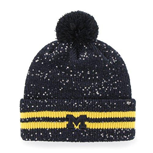 '47 NCAA Michigan Wolverines Women's Amelia Cuff Knit Beanie with Pom, Navy, One Size