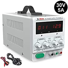 Dr.meter 30V/5A DC Bench Power Supply Single-Output 110V/220V Switchable with Alligator Clip Included, US 3-Prong Cable,PS305DM