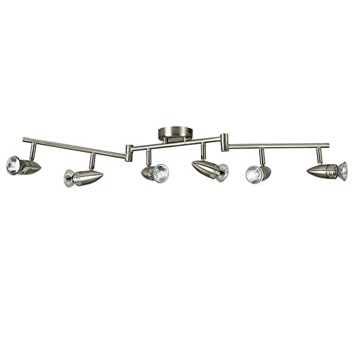 the latest 8e883 e11a0 Modern Bullet Head Adjustable 6 Way Bar Ceiling Spotlight in a Brushed  Chrome Finish - Complete With 5W Warm White GU10 LED Bulbs