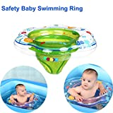 Safety Newborn Infant Baby Swimming Pool Floats Double Airbags Floating PVC Inflatable Seat Swimming Ring with Leg Holes for Kids 1-2 Year Boys Girls Toddlers Summer Outdoor Water Sports Toys Green