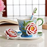 Coffee Cup European-style couple mug Cup 3D ceramic cups gift coffee cup and saucer,Sky blue