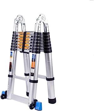 Escalera telescópica de aluminio escalera escamoteable plegable Escalera multifuncional con rodillo de varilla de soporte para el hogar del jardín-1.3+1.3M: Amazon.es: Bricolaje y herramientas