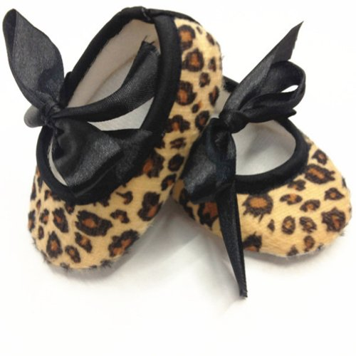 "TANZK 4.3"" Anti Slip Sandal Shoes Infant Toddler Baby Girl Black Ribbon Leopard Print"