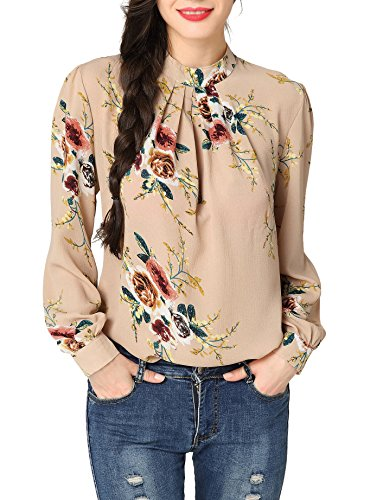 Abollria Women's Flower Print Long Sleeve Stand Collar Casual Chiffon Blouse Shirt (Chiffon Stand Collar)