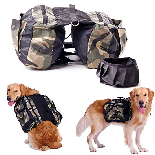 CozyCabin Dog Saddlebag Backpack Harness Carrier Camouflage Adjustable - Camo Dog Backpack